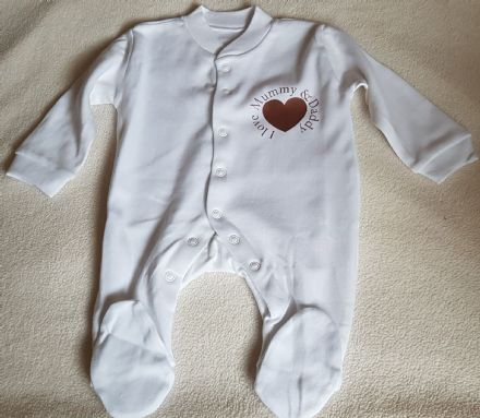 Personalised Baby Long Sleeve Sleeper - I love Mummy & Daddy
